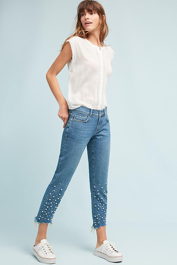 Pilcro Hyphen Mid-Rise Embellished Boyfriend Jeans - Denim Light, Size 25
