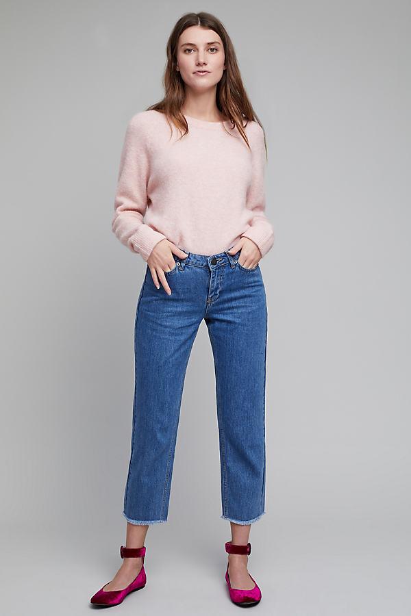 Oriah Cropped & Frayed Jeans - Denim Medium Blue, Size 30
