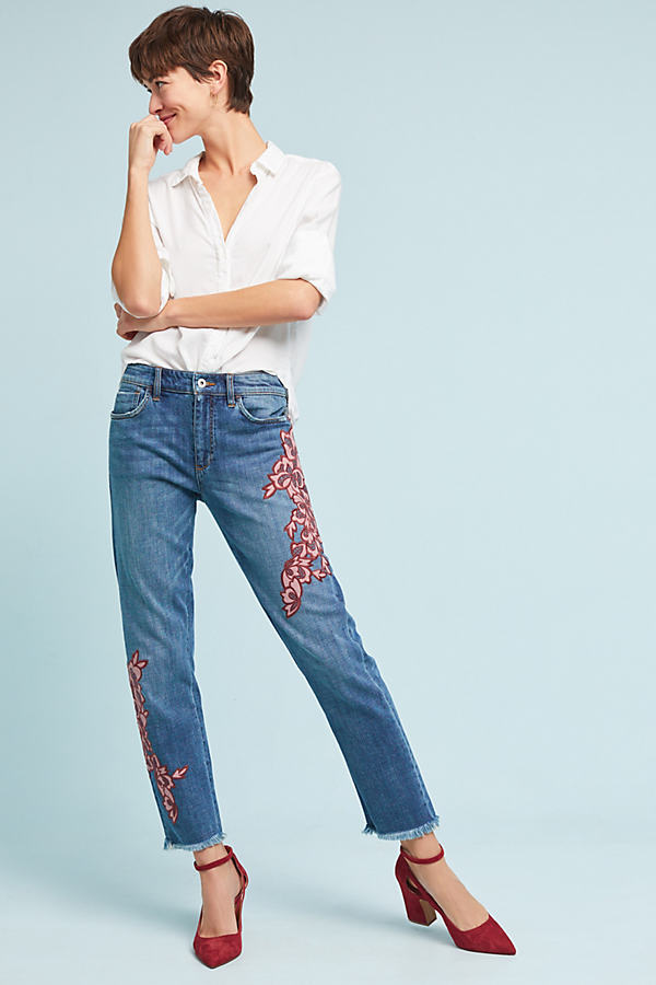Pilcro Velvet Embroidery Slim Boyfriend Jeans - Denim Dark, Size 25