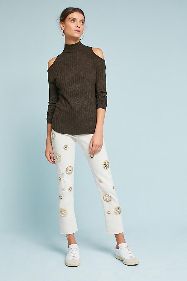Pilcro Mid-Rise Medallion Slim Straight Jeans - Ivory, Size 30