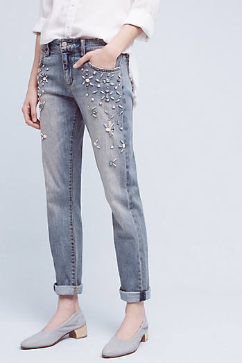 Pilcro Hyphen Bejeweled Mid-Rise Jeans