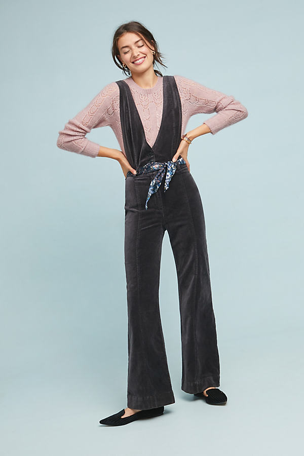 Pilcro Velvet Jumpsuit - Grey, Size Uk 12 P