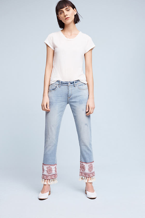 Pilcro Hyphen Mid-Rise Boyfriend Jeans - White, Size 24 Petite