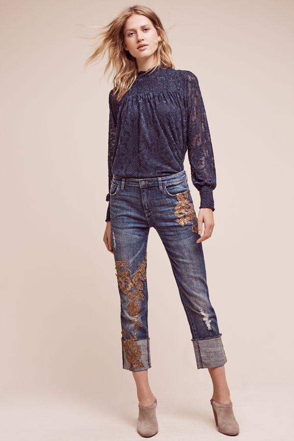 Pilcro Pilcro Hyphen Applique Mid-Rise Jeans