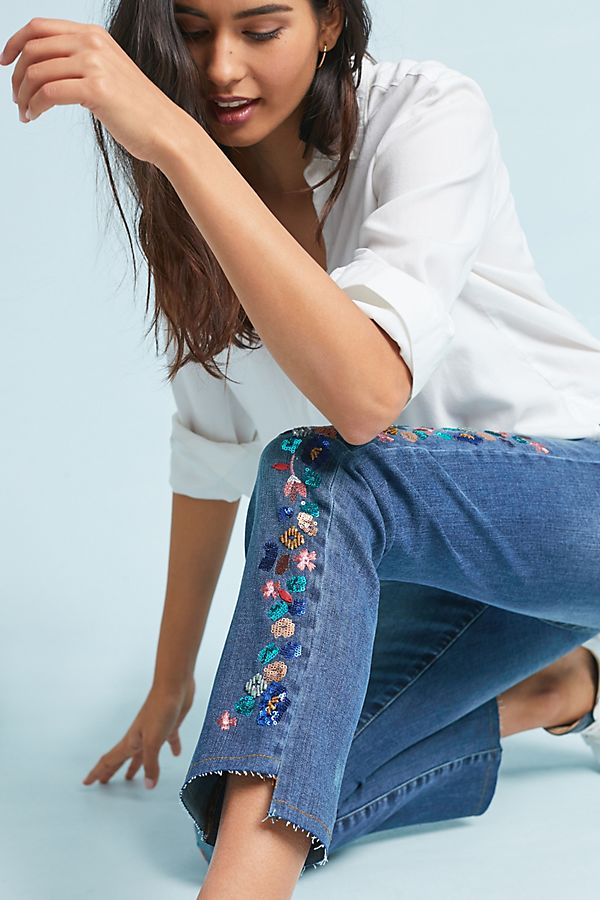 Slide View: 1: Pilcro Embroidered Mid-Rise Slim Straight Jeans