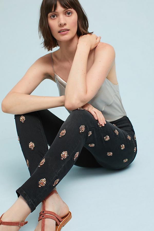 Pilcro Script High-Rise Embellished Skinny Jeans - Dark Grey, Size 29 Petite