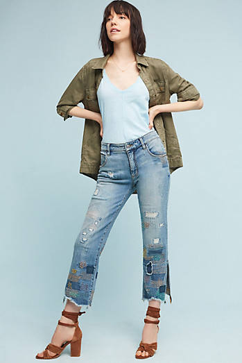 Pilcro Embroidered High-Rise Cropped Straight Jeans