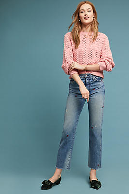 Slide View: 1: AMO Loverboy Ultra High-Rise Straight Cropped Jeans