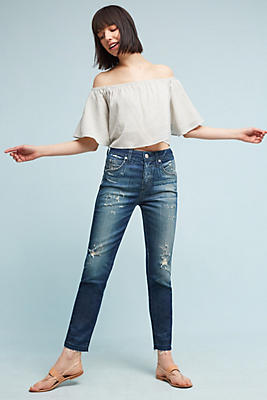 Slide View: 1: AMO Babe High-Rise Straight Cropped Jeans