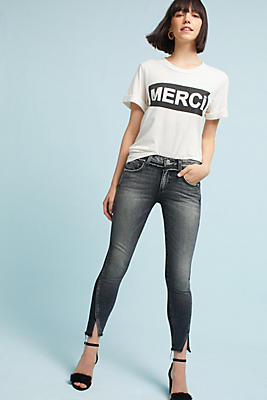 Slide View: 1: AMO Two Tone Twist Mid-Rise Skinny Cropped Jeans