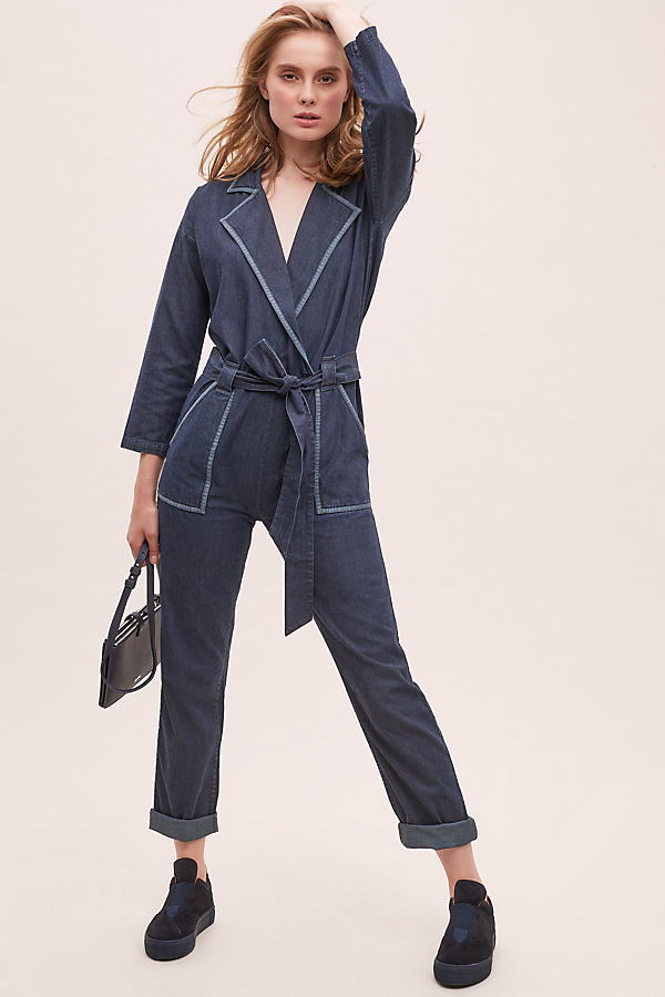 Denim Jumpsuit - Blue, Size M