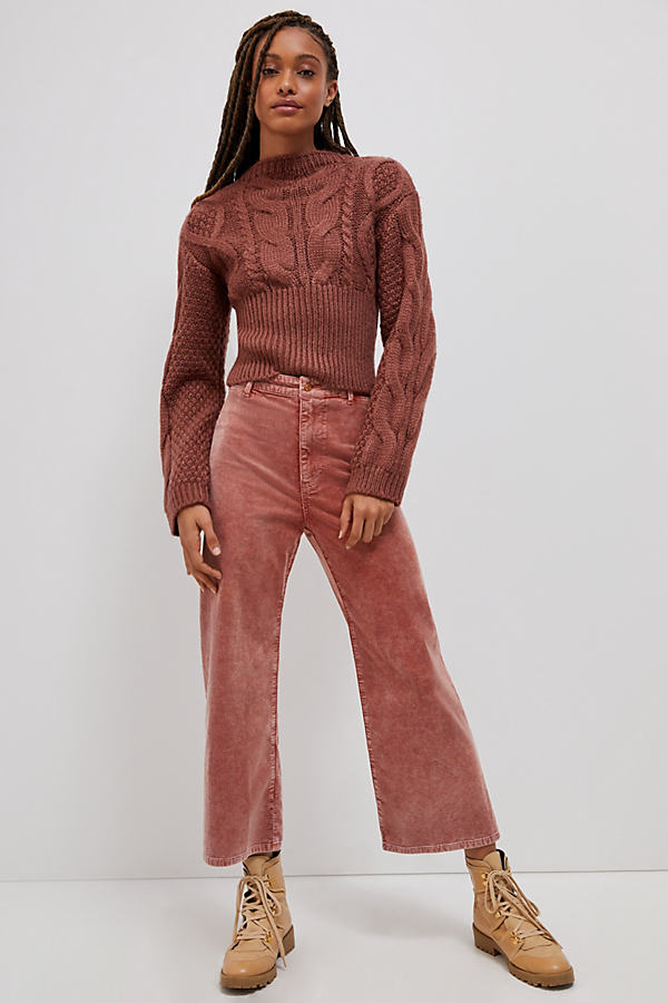Pilcro Ultra High-Rise Cropped Wide-Leg Corduroy Trousers