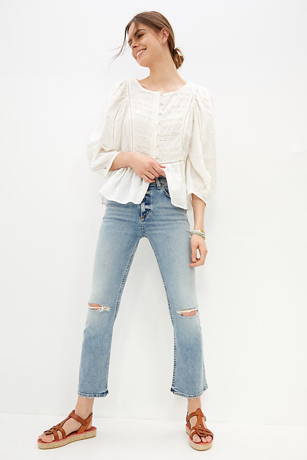 Askk Ultra High-rise Cropped Bootcut Jeans In Blue