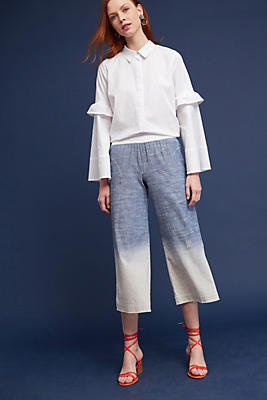 Slide View: 2: Dip-Dyed Cropped Wide-Legs