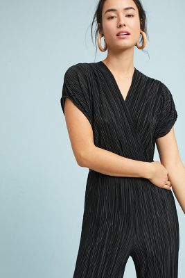 Porridge Clothing   Pleated Metallic Jumpsuit  -    BLACK