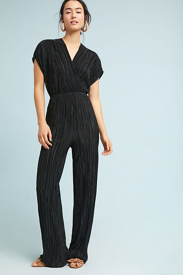 Slide View: 2: Pleated Metallic Jumpsuit