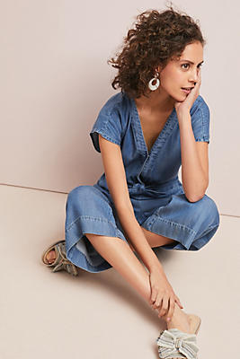 Slide View: 1: Splendid Bow-Tied Chambray Jumpsuit