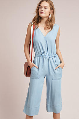 Slide View: 1: Splendid Cropped Chambray Jumpsuit