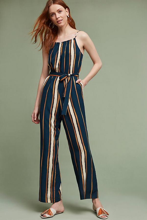 Scarborough Striped Jumpsuit, Blue - Dark Turquoise, Size Xl