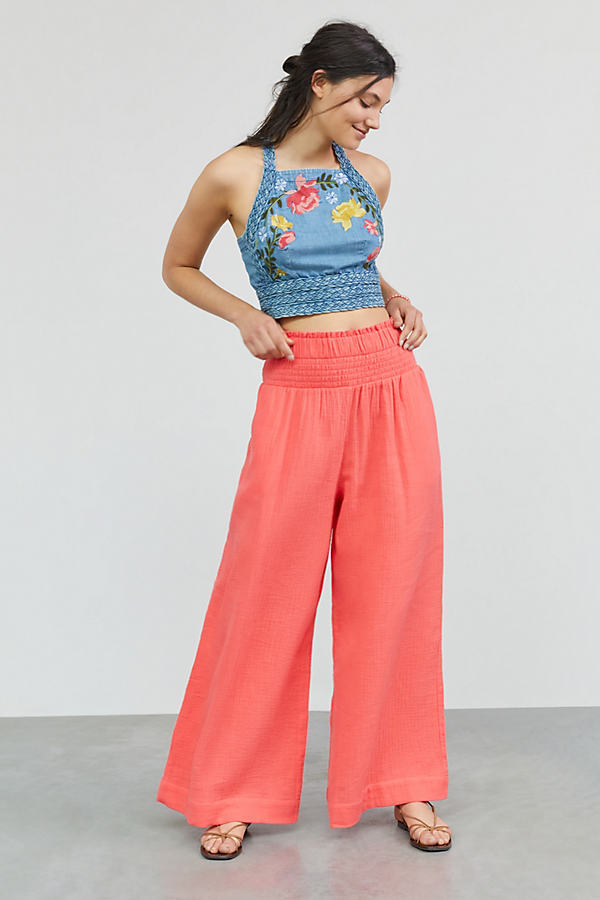 Maeve Smocked Wide-Leg Trousers