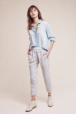 Slide View: 1: Striped Linen Joggers