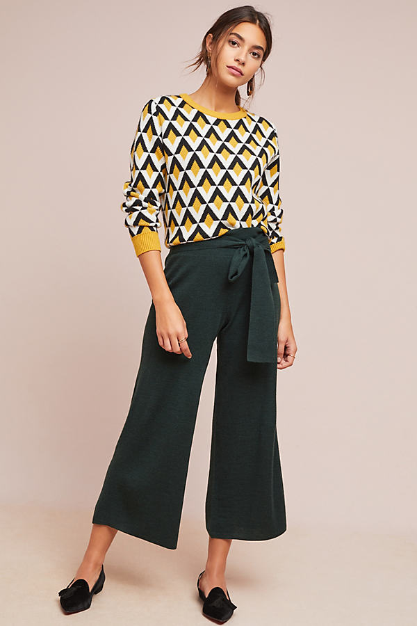 Tie-Front Sweater Trousers - Green, Size Xs