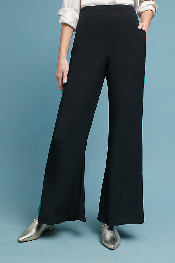 Slide View: 2: Flared High-Waisted Wide-Leg Trousers
