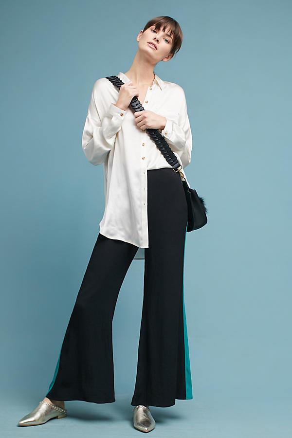 Slide View: 3: Flared High-Waisted Wide-Leg Trousers