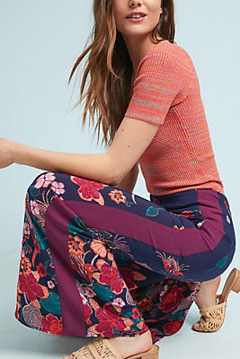 Slide View: 1: Floral Flared Track Pants