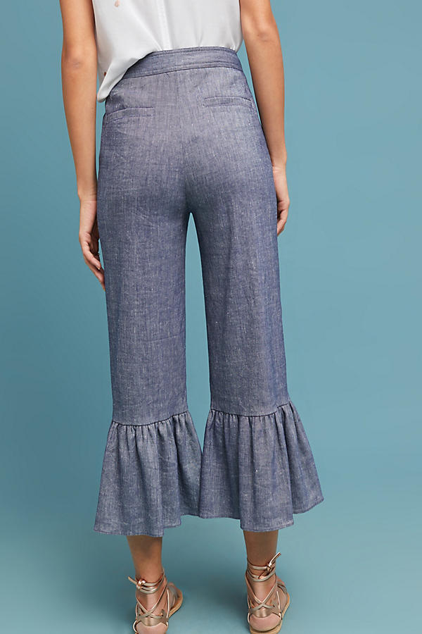 Slide View: 2: Pantalon en chambray à volants