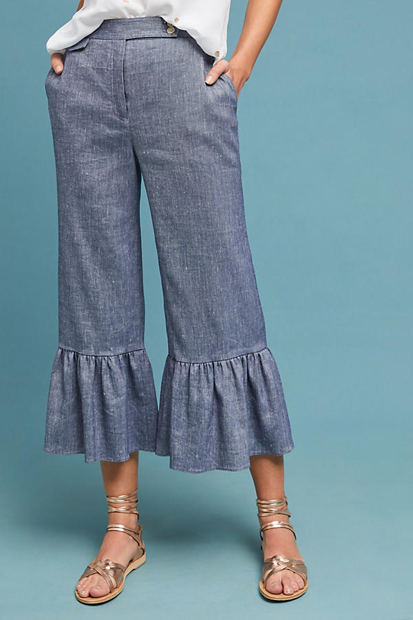 Slide View: 3: Pantalon en chambray à volants
