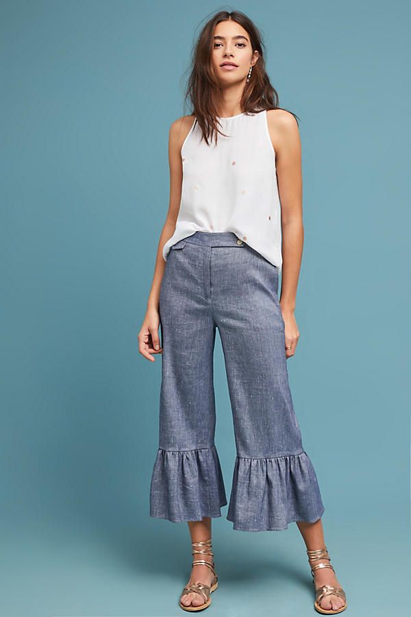 Slide View: 1: Pantalon en chambray à volants