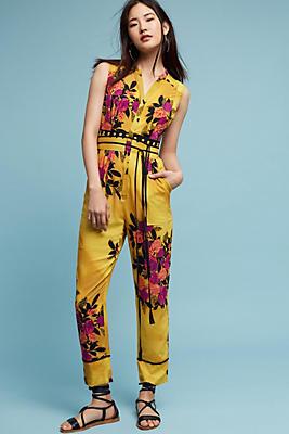 Slide View: 1: Amber Floral Jumpsuit