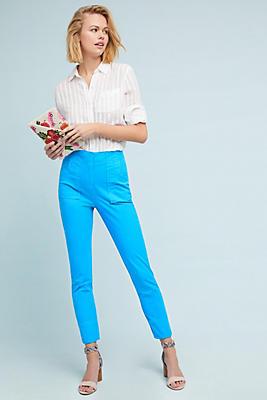Slide View: 1: Slim Twill Ultra High-Rise Pants