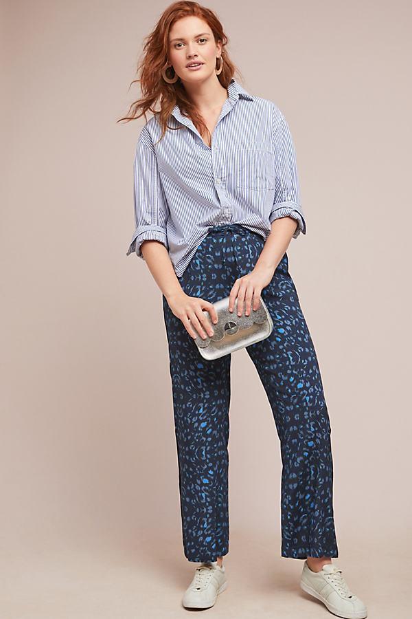 Leopard Trousers - Blue, Size Uk 8