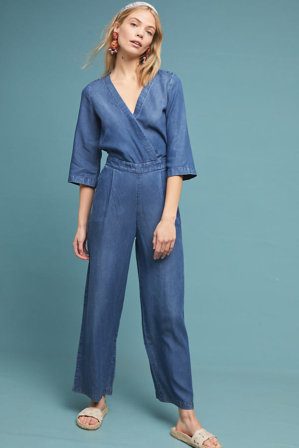 Kachel Juanita Chambray Jumpsuit - Blue, Size Uk 14