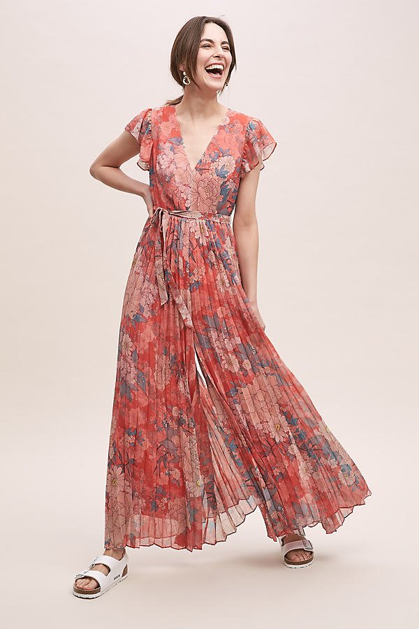 Kachel AnnMarie Ruffled-Pleated Floral Jumpsuit