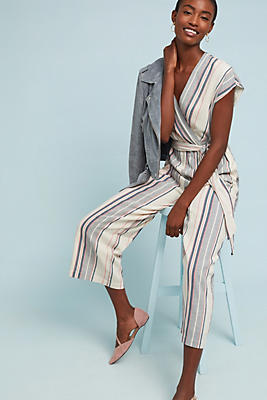Slide View: 1: Millie Striped Jumpsuit
