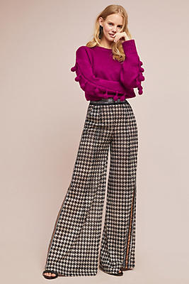 Slide View: 1: Byron Lars Houndstooth Wide-Leg Pants