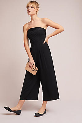 Slide View: 1: Pleated Strapless Jumpsuit