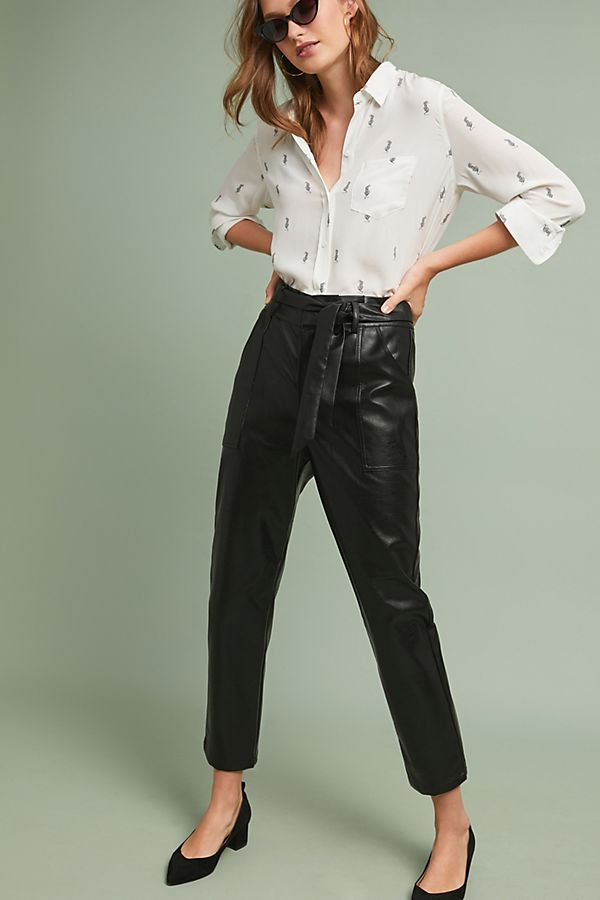 Slide View: 1: Spencer Faux Leather Pants