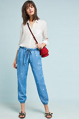 Slide View: 1: Cloth & Stone Dotted Chambray Joggers