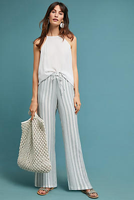 Slide View: 1: Cloth & Stone Striped Wide-Leg Pants