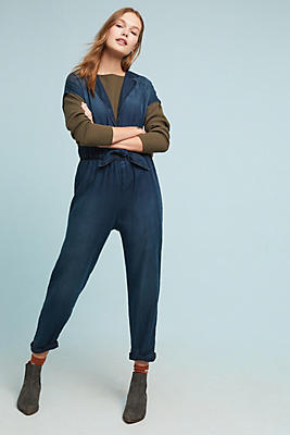 Slide View: 1: Cloth & Stone Belted Chambray Jumpsuit