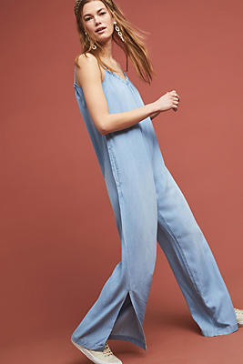 Slide View: 1: Cloth & Stone Chambray Wide-Leg Jumpsuit