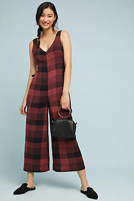 Slide View: 1: Checked Wide-Leg Jumpsuit
