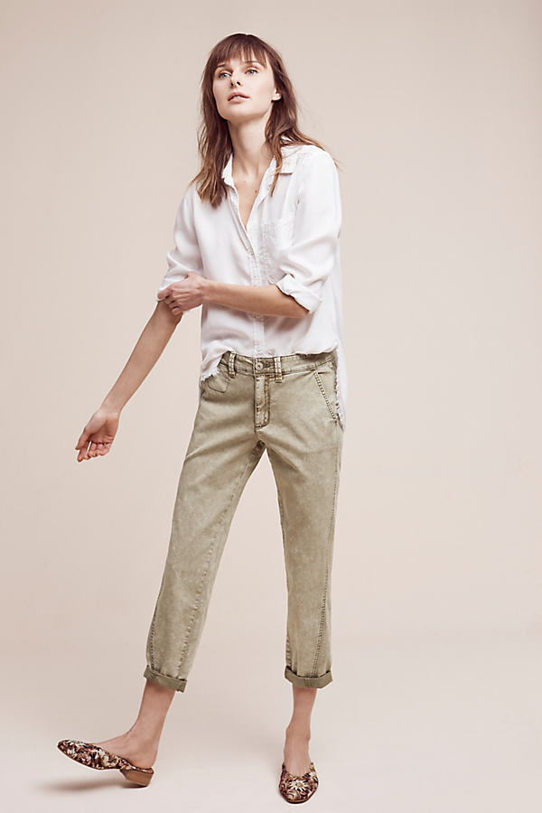 Joan Relaxed Chino Trousers - Moss, Size 32