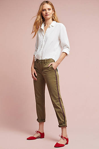 Relaxed Striped Chino Pants