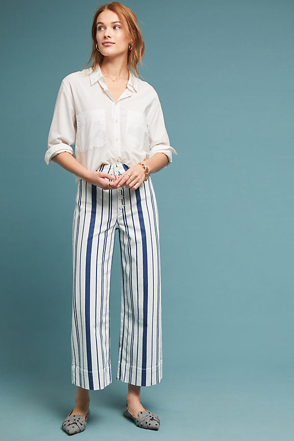 Capitaine Striped Wide-Leg Trousers - Assorted, Size Uk 10