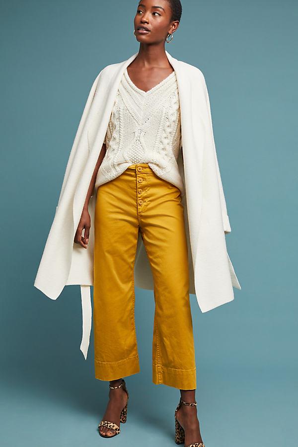 Cropped Chino Trousers - Yellow, Size Uk 8